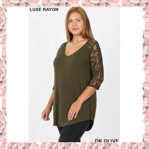 Plus Size Lace Sleeve V Neck Tee Top 1X 2X NEW